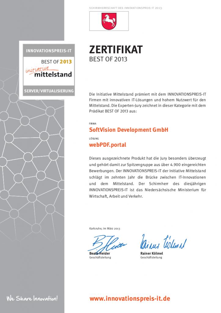 Innovationspreis Zertifikat