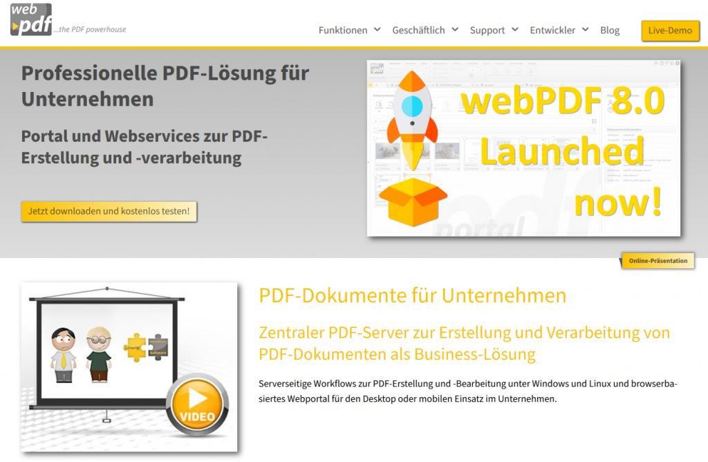 Screenshot der neuen webPDF Website